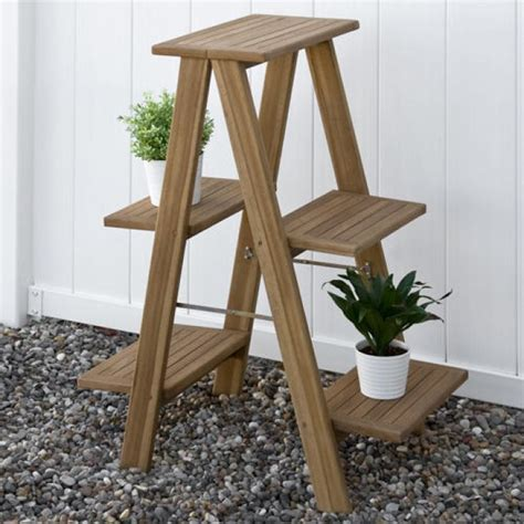 Outdoor Planter Stand by Oversized Ladder Style Teak Plant Stand Outdoor