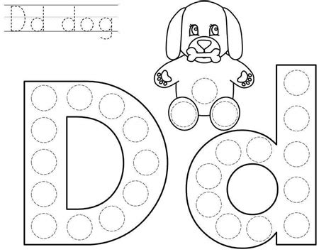 printable dot art worksheets do a dot letter d printable 171 funnycrafts