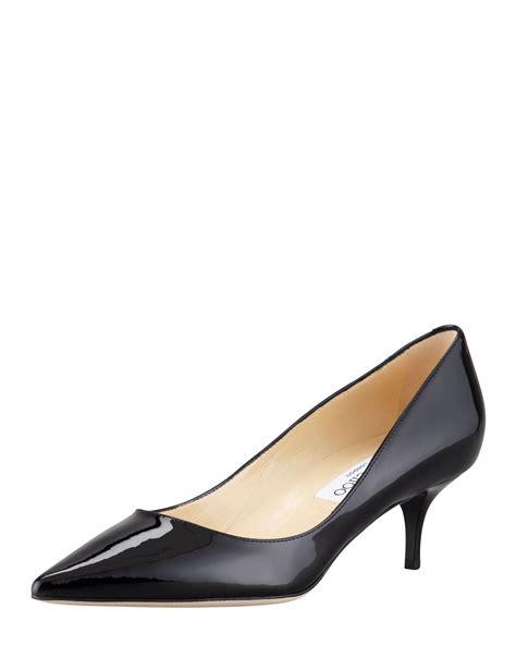 jimmy choo aza low heel patent in black lyst