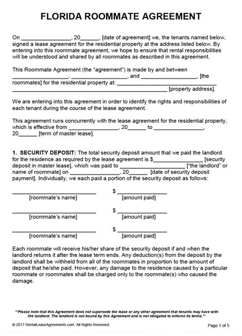 Rental Agreement Template Florida Free Free Florida Roommate Agreement Template Pdf Word