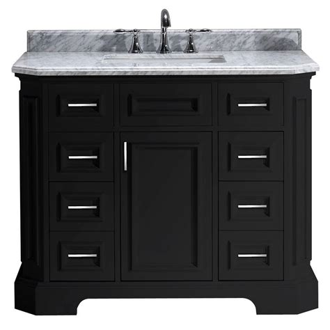 Black Bathroom Vanity With White Marble Top Pegasus Bristol 42 In Vanity In Black With Marble Vanity Top In Carrara White Pebristol42b