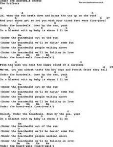 Song lyrics with guitar chords for under the boardwalk the drifters