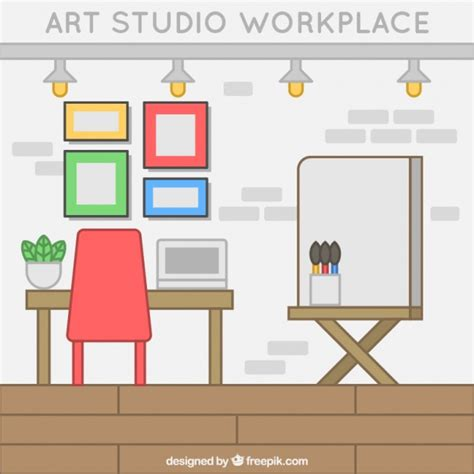 drawing studio free studio in flat design vector free