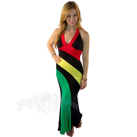 Dress Black Raisya reggae and rasta halter dress rastaempire
