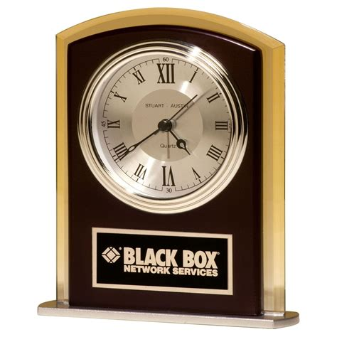 Desk Clocks Modern Cherry And Glass Contemporary Desk Clock