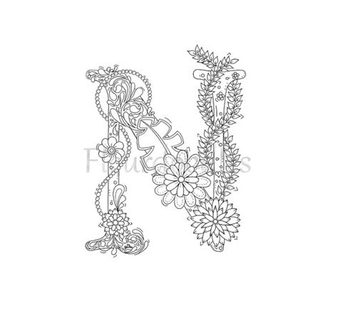 coloring pages for adults letter e adult coloring page floral letters alphabet n by