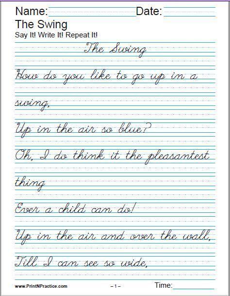 printable handwriting worksheets manuscript and cursive