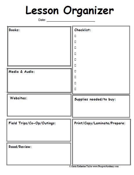 lesson plan template pages homeschool lesson planner pages