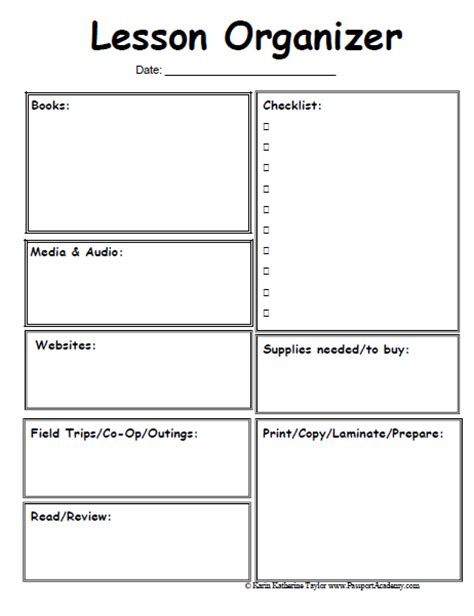 lesson plan template preschool printable 6 best images of printable homeschool lesson plan template