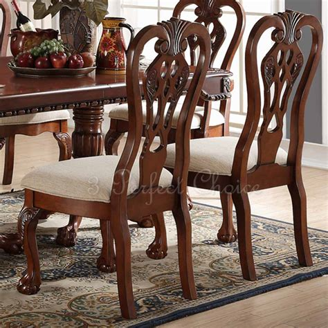 set of 2 formal dining set of 2 formal dining side chair carving legs cherry wood upholstered seat new ebay