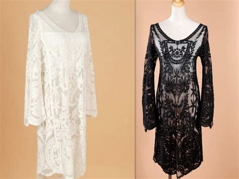 Lace Dress Tosca Blouse semi sheer sleeve embroidery floral lace crochet dress top blouse evening dress in