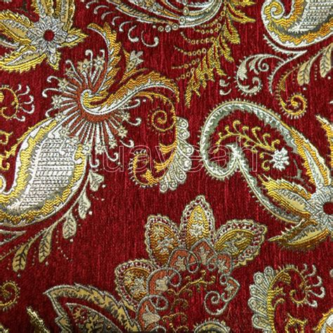 Jacquard Chenille Upholstery Fabric by Vintage Design Chenille Jacquard Fabric