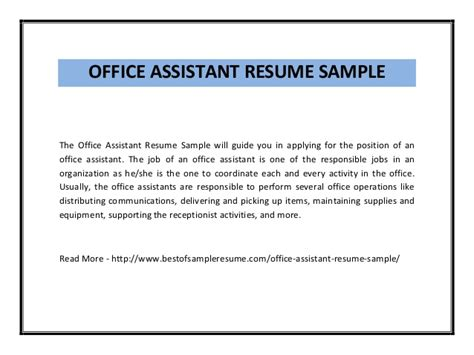 Resume Examples For Office Jobs by Office Assistant Resume Sample Pdf