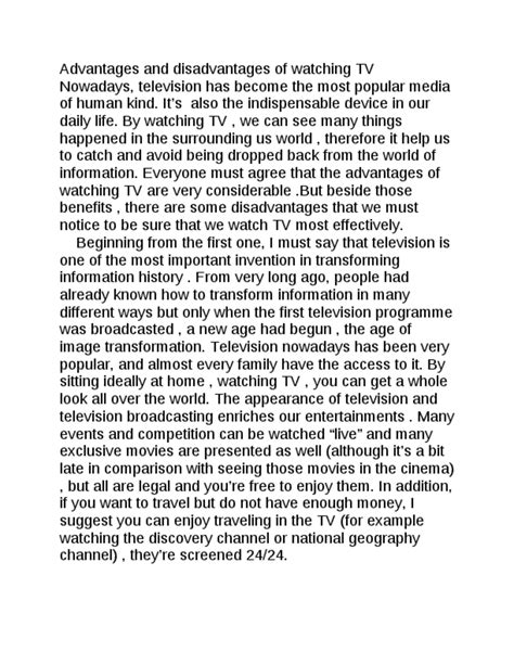 Essay About Television by Disadvantages Of Tv Essay
