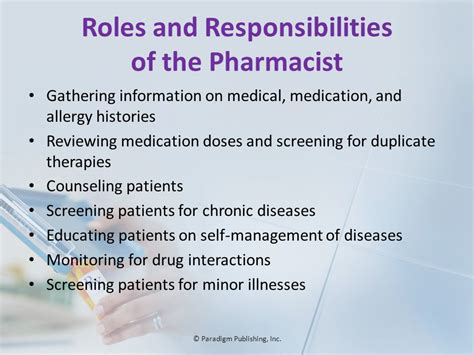 Responsibility Of A Pharmacist by 169 Paradigm Publishing Inc Ppt