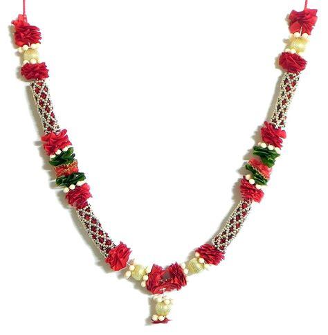 maroon ribbon garland with beads