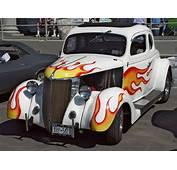 1936 Ford Coupe  White With Flames Front Angle