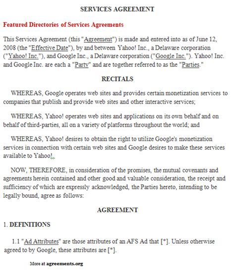 agreement of services template free printable it service agreement template form generic
