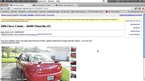 craigslist titusville florida  cars trucks vans  suvs  sale  owner options youtube