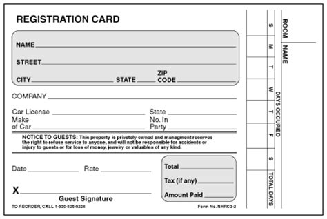 guest registration card template numbered motel registration cards