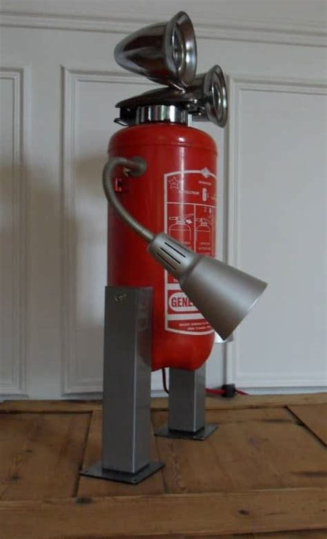 robot lamp recycled fire extinguisher recyclart