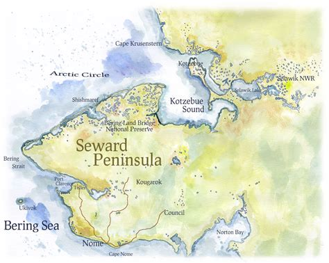 peninsula map map of seward peninsula