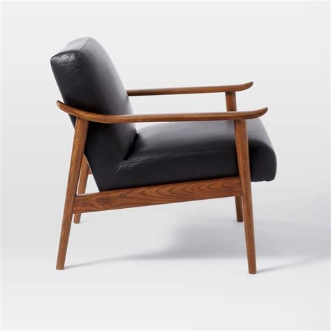 west elm mid century leather recliner the interior mid century leather show wood chair in nero
