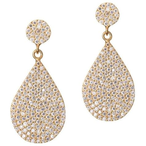 how to make pave jewelry gold drop earring with pave pear accessories