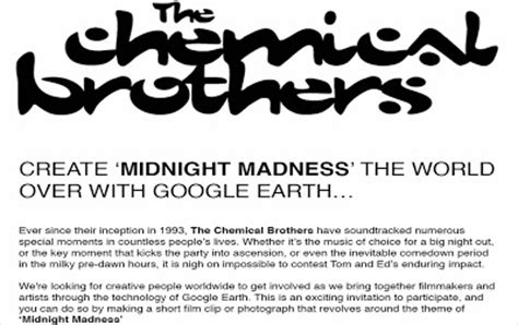 chemical brothers google earth 'midnight madness' project
