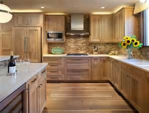 Natural Oak Kitchen Cabinets by White Counter Top Textured Tile With Natural Oak Cabinets