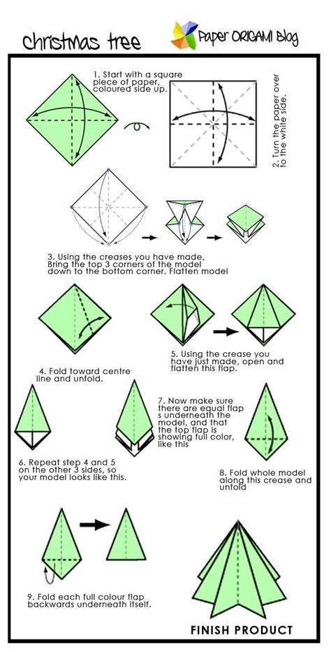 How To Make Paper Trees - origami pine tree paper origami guide