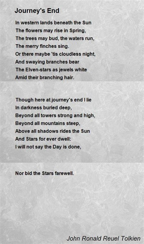 journey s end poem by john ronald reuel tolkien poem hunter