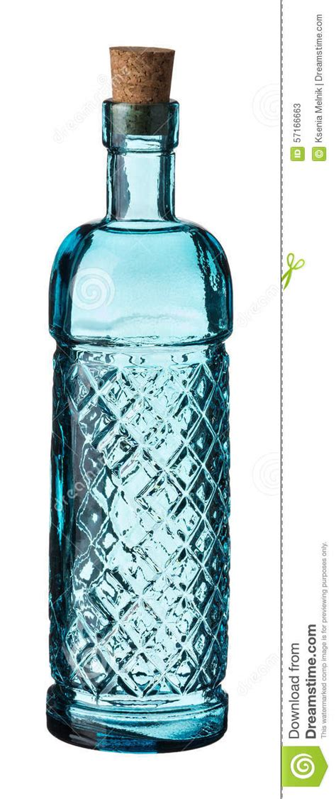light blue glass bottle stock photo image