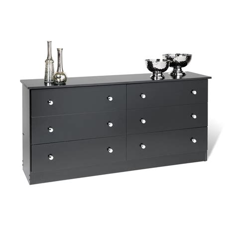 Black 6 Drawer Dresser by Shop Prepac Furniture Edenvale Black 6 Drawer Dresser At