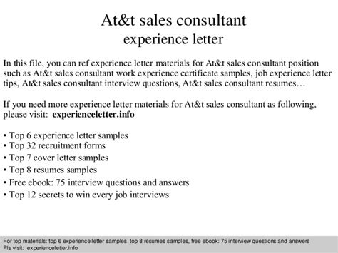 Experience Letter Providing Consultancy at t sales consultant experience letter