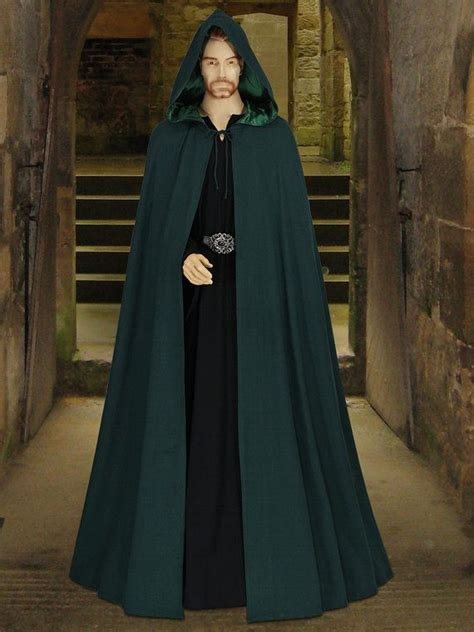 Handmade Renaissance Costumes - style handmade cotton cloak with satin