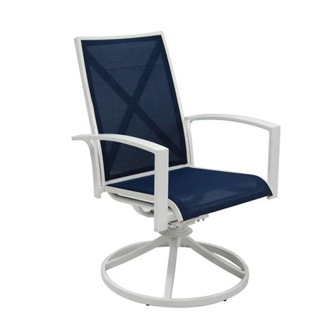 Patio Set With Swivel Chairs Shop Allen Roth Set Of 2 Park White Sling Seat Aluminum Swivel Rocker Patio Dining