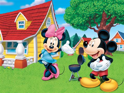 mickey house disney mickey mouse and minnie wooden house grill cartoon wallpaper hd wallpapers13 com