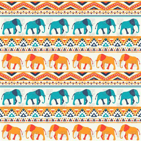 ethnic pattern art animal seamless ethnic pattern with elephants royalty free