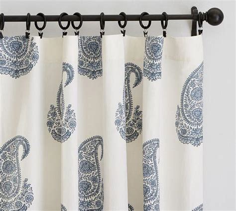 blue and white paisley curtains rayna blue and white paisley drape