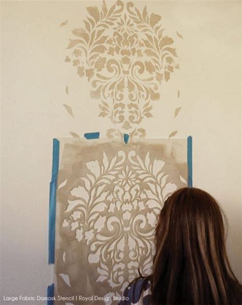 headboard stencils for walls stencil a headboard wall for an elegant guest bedroom
