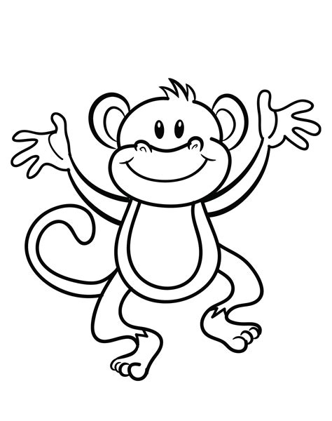 coloring page monkey hanging free printable monkey coloring page cj 1st birthday