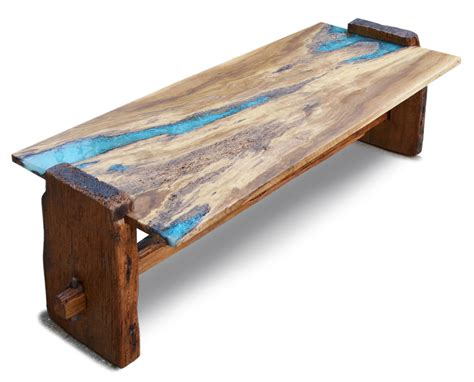 inlay coffee table custom live edge rustic oak with turquoise inlay coffee