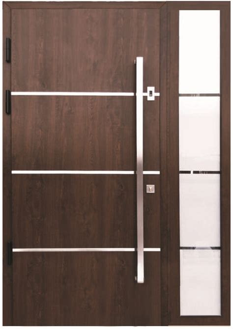 Pull Handles For Front Doors Quot Sofia Quot Stainless Steel Modern Entry Door In Walnut Finish