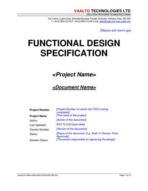 Functional Design Document Template functional specification template playbestonlinegames