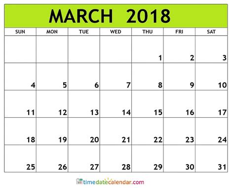 free blank calendar template march 2018 march calendar 2018 free printable template