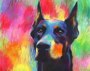 colorful impressionistic doberman pincher dog portrait