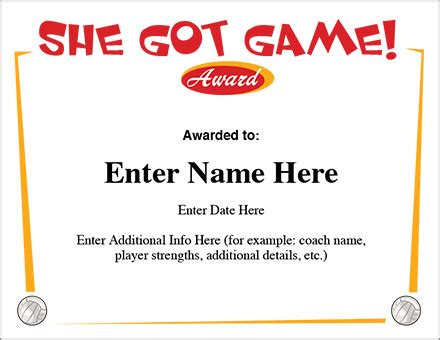 she got game volleyball certificate award template