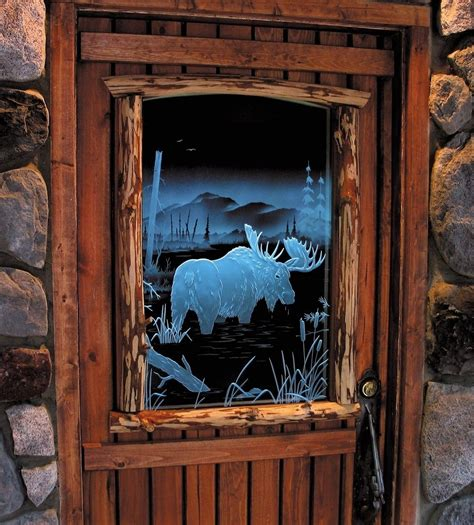 Handmade Illuminated Carved Etched Glass Moose Door By Custom Etched Glass Doors