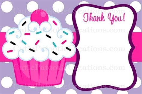 thank you flat card template cupcake thank you cards printable or printed